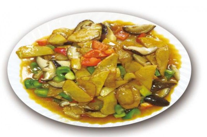 Жареная картошка с шампиньонами и овощами