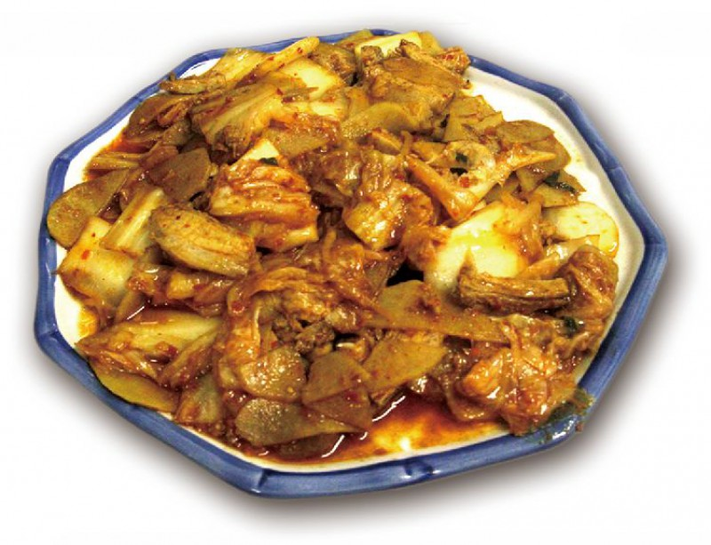 Жареный бекон с ким чи и картофелем