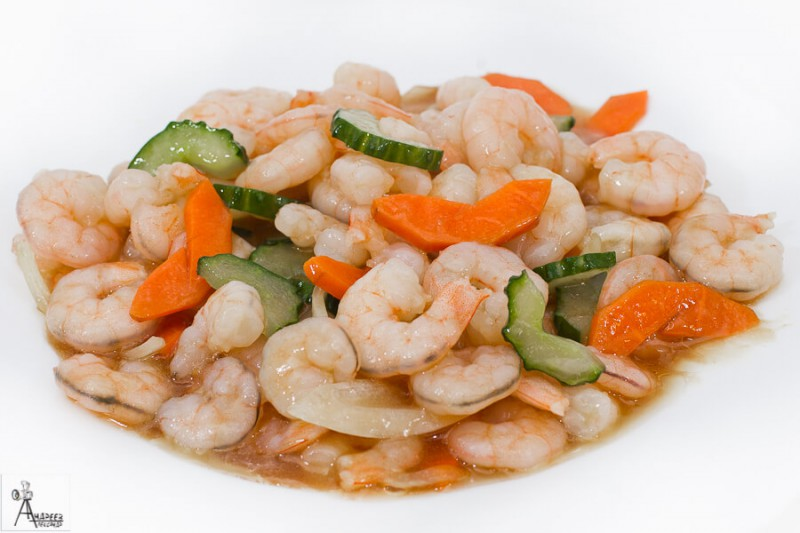 Креветки жареные в соусе