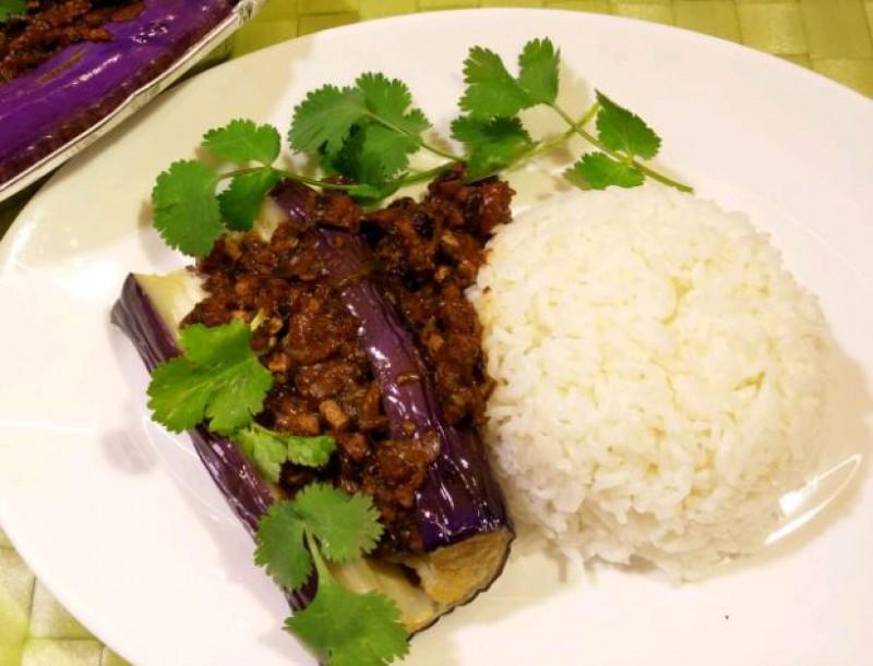 Рис с баклажаном и мясом