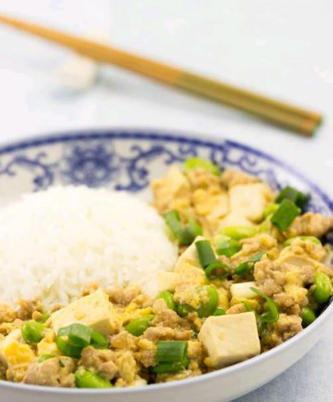 Рис с яйцом и тофу